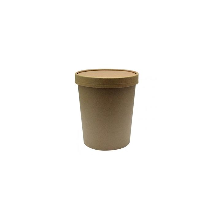 Contenitore Soupe con coperchio in carta marrone cl 63,5
