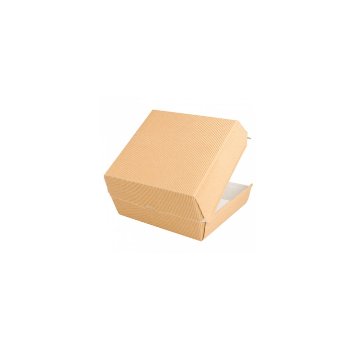 Porta hamburger in cartone ondulato marrone cm 17,5x18x7,5