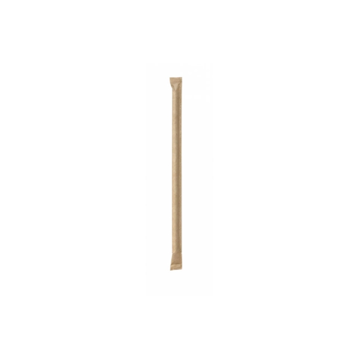 Cannucce biodegradabili mono imbustate in carta marrone cm 14x0,6