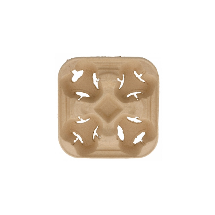 Contenitore asporto 4 tazze in cartone marrone cm 22x22