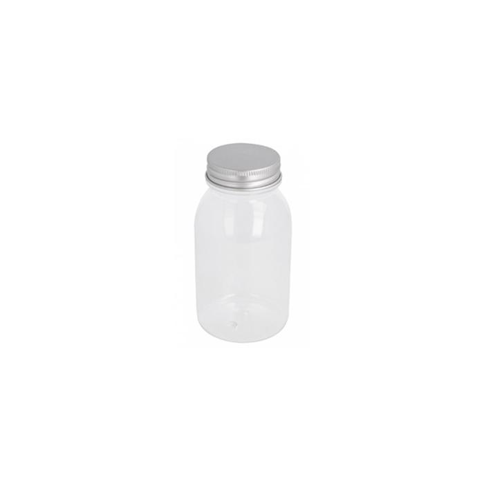 Flacone in pet trasparente con tappo in alluminio cl 22
