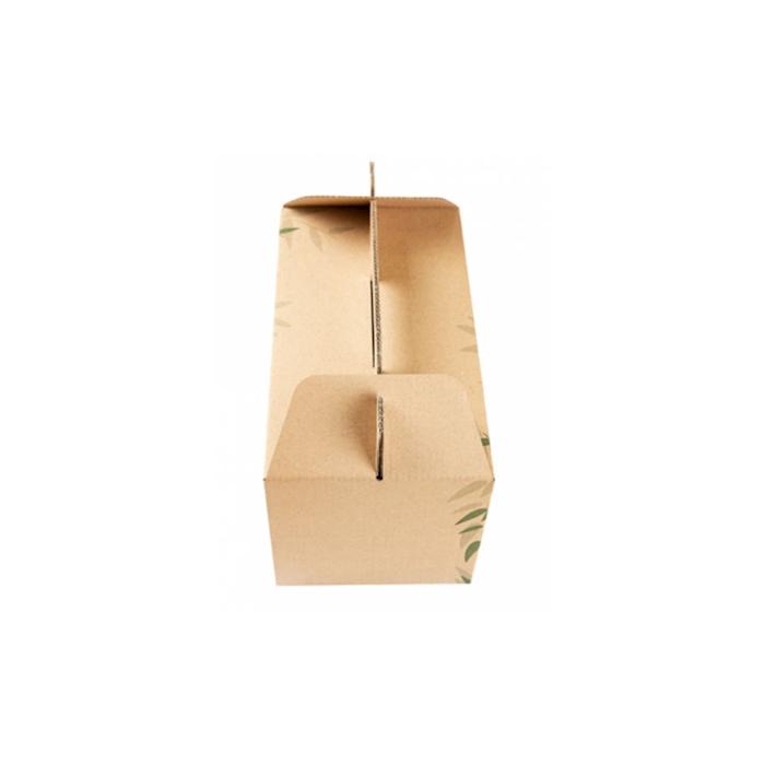 Scatola box per asporto in cartone marrone con decoro cm 24,5x13,5x12