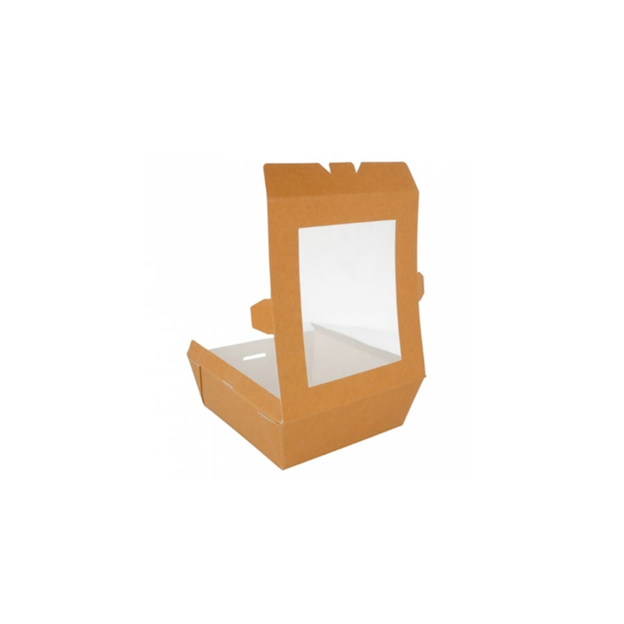 Contenitore con coperchio a finestra in carta marrone cm 15x15x5