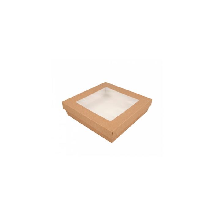 Contenitore con coperchio a finestra in carta marrone cm 18,5x18,5x4