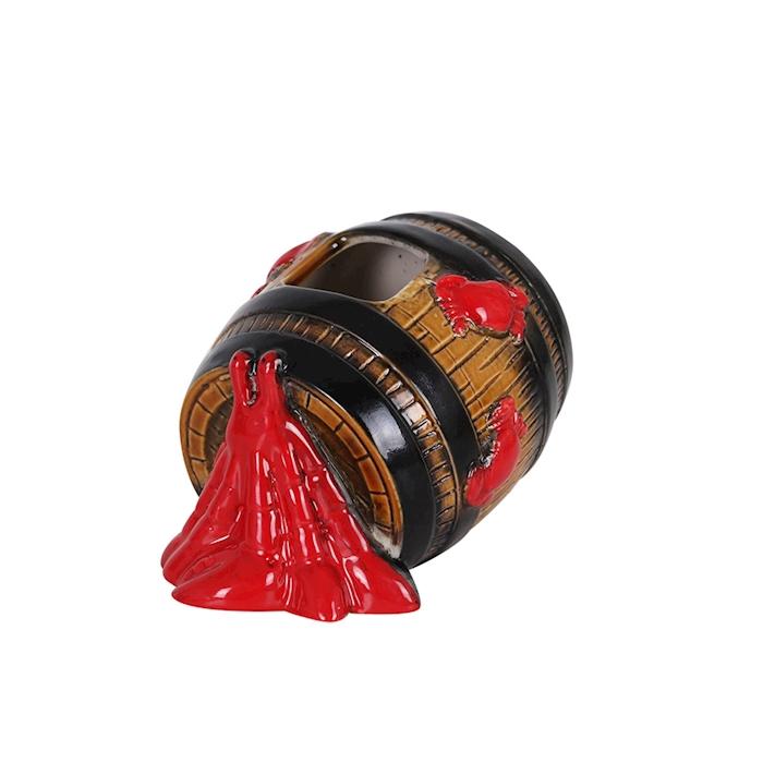 Tiki Barrel in porcellana marrone e rossa cl 50