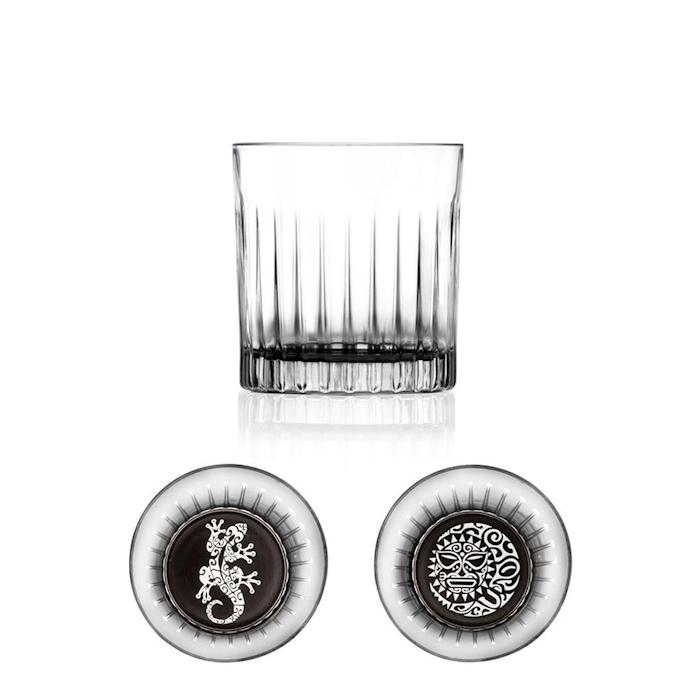Bicchiere Maori dof RCR con decoro nero in vetro cl 36