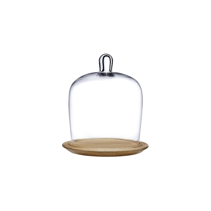 Piatto torta con cupola Meringue Nude in vetro e legno cm 23,5
