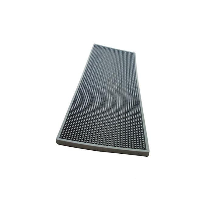 Bar mat in gomma argento con griglia in acciaio cm 60x20