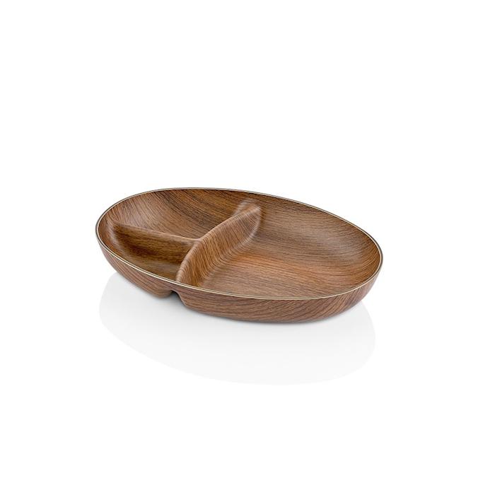 Vassoio 3 scomparti in ps effetto legno cm 24x17x4