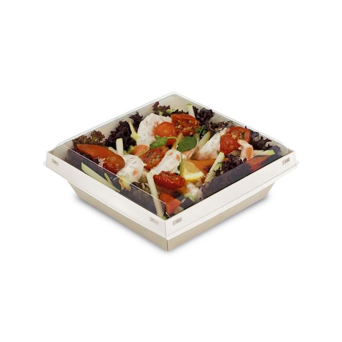Contenitore con coperchio Luxifood in carta naturale cm 18x18