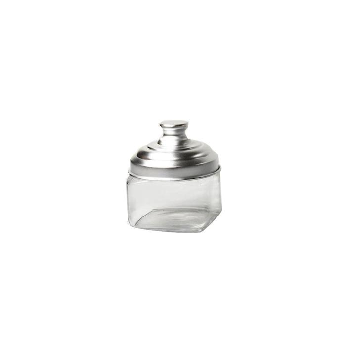 Barattolo quadro in vetro con tappo in alluminio cl 50