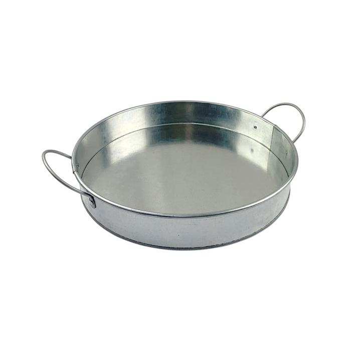 Vassoio tondo 2 manici in latta zincata cm 31x5,3