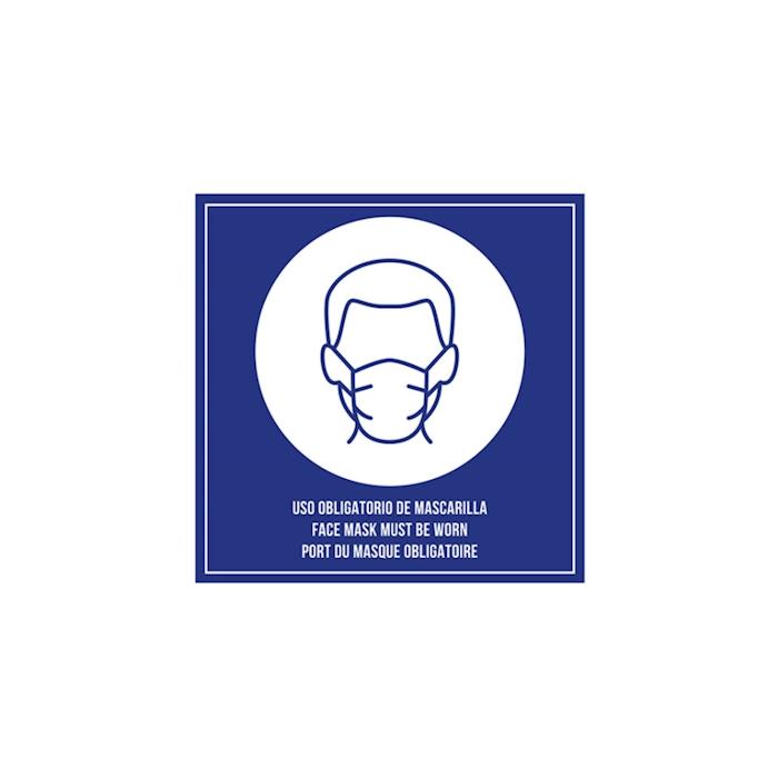 Cartello Mascherina Obbligatoria con biadesivo in plastica blu cm 12x12