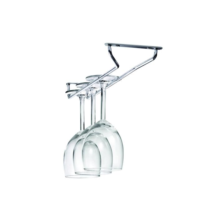 Rastrelliera porta bicchieri a fissaggio sospeso in acciaio cromato