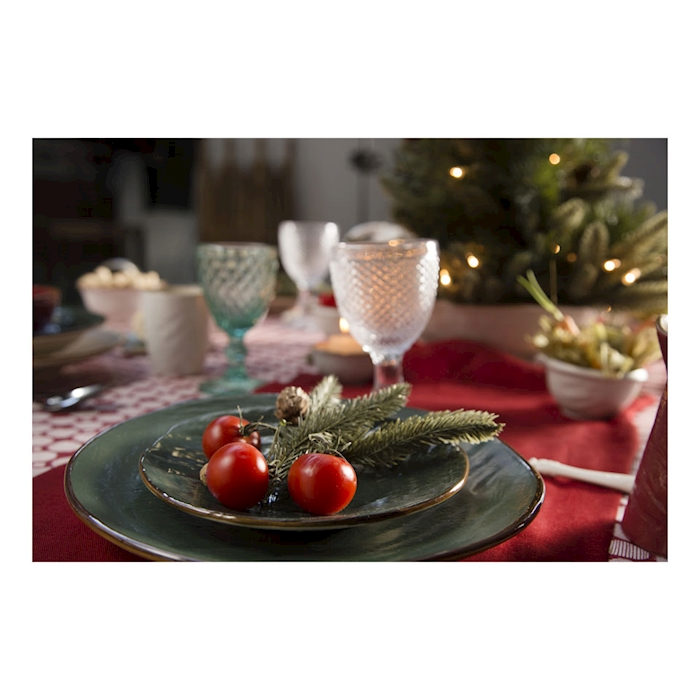 Piatto piano Mediterraneo in ceramica verde cm 20