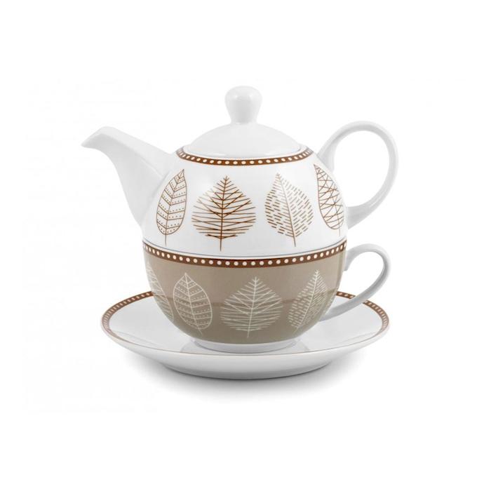 Tea for One Michelle decoro foglie in porcellana bianca e marrone