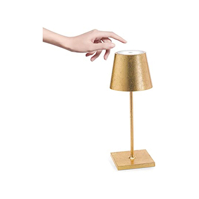 Lampada ricaricabile da tavolo Poldina Zafferano in alluminio foglia d'oro cm 38
