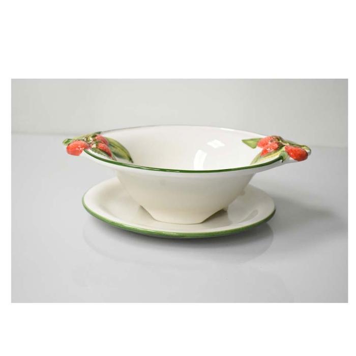 Bowl lavafrutta Fragole con piatto in ceramica dipinta a mano cm 26