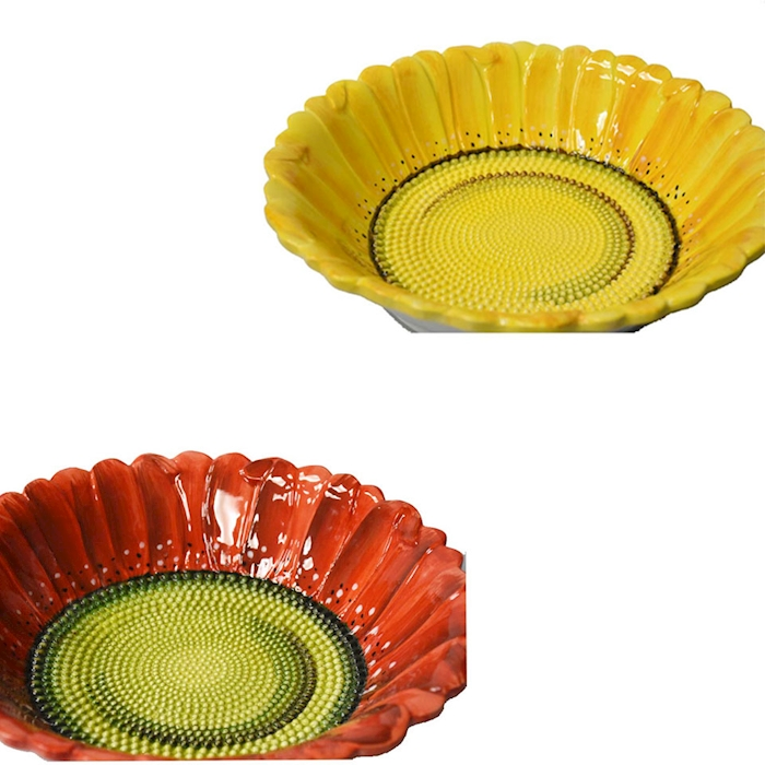 Bowl Girasole in ceramica dipinta a mano in colori assortiti cm 32