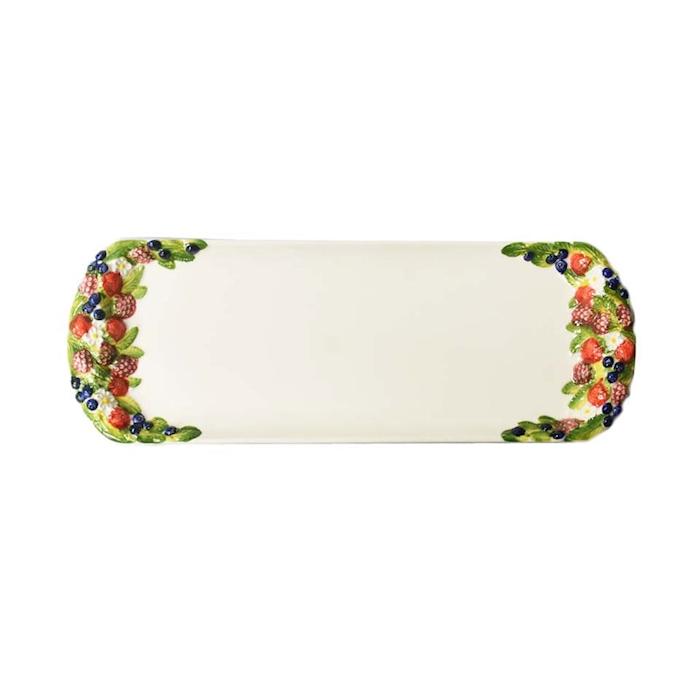 Vassoio strudel Frutti di Bosco in ceramica dipinta a mano cm 41x14,5