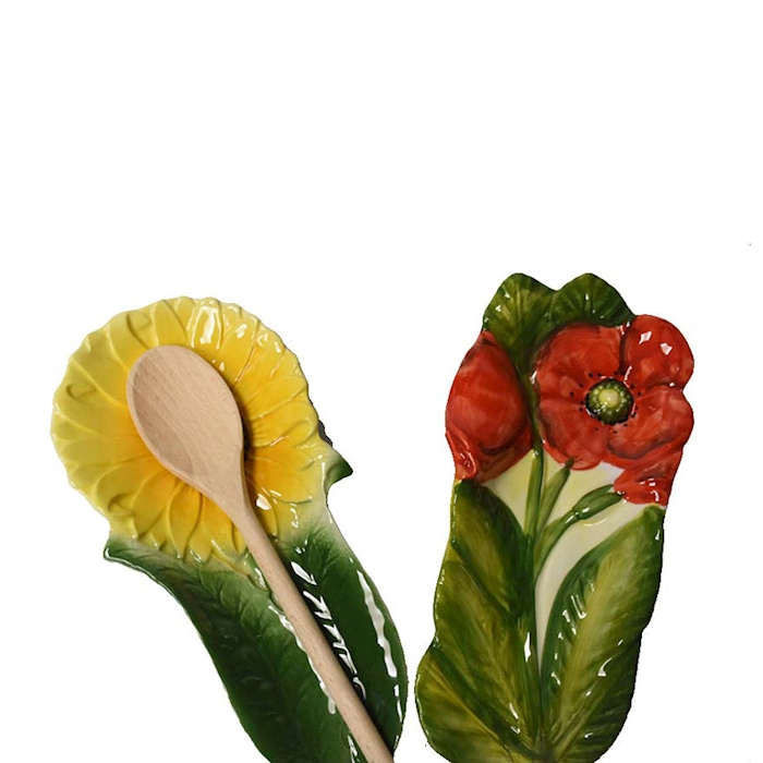 Poggiamestolo Fiori in ceramica dipinta a mano in colori assortiti cm 28,5x13