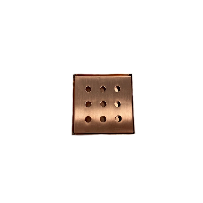 Bar mat con griglia e fori tondi in acciaio inox ramato cm 10,5x10,5x1,6