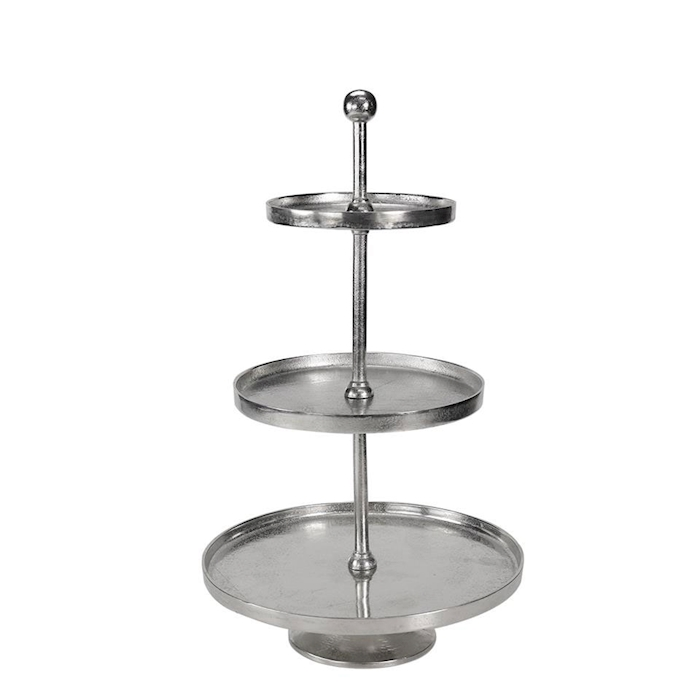 Alzata 3 piani in alluminio silver cm 72