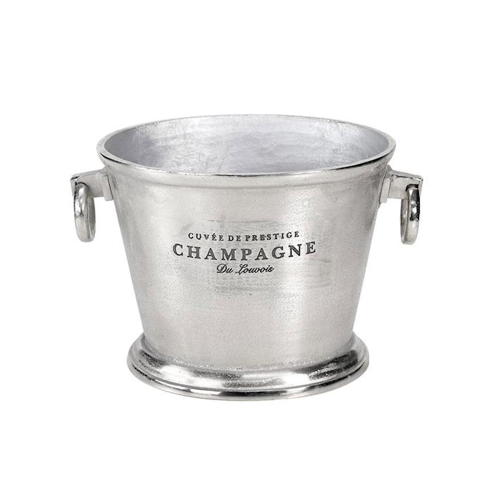 Secchiello vino e champagne con scritte in alluminio silver cm 32x26x25