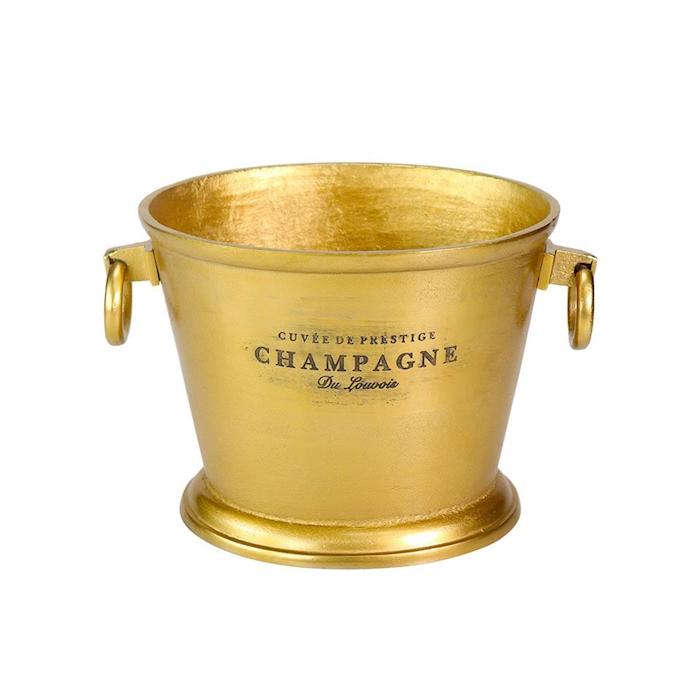 Secchiello vino e champagne con scritte in alluminio gold cm 32x26x25