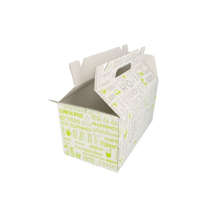 Scatola asporto in cartone con decoro parole cm 24,5x13,5x12