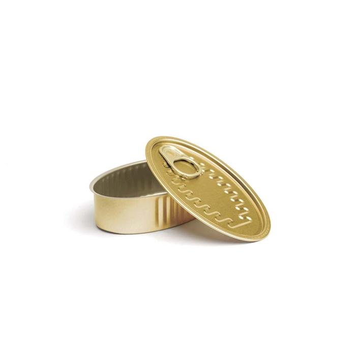 Scatoletta ovale in alluminio con coperchio oro cm 11x6