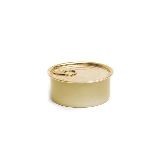 Scatoletta tonda in alluminio con coperchio oro cm 8,3