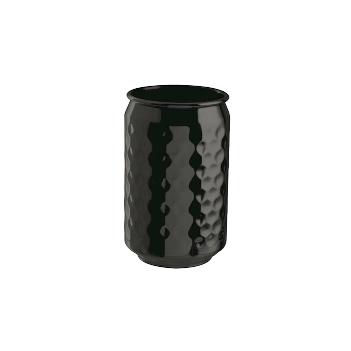 Bicchiere lattina in acciaio inox martellato color nero cl 49