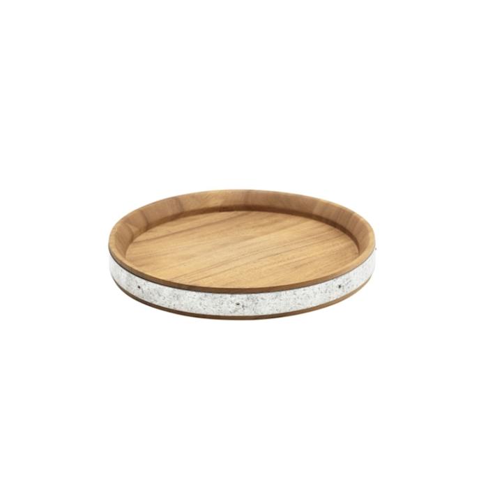Vassoio tondo in legno di acacia con bordo zincato cm 24