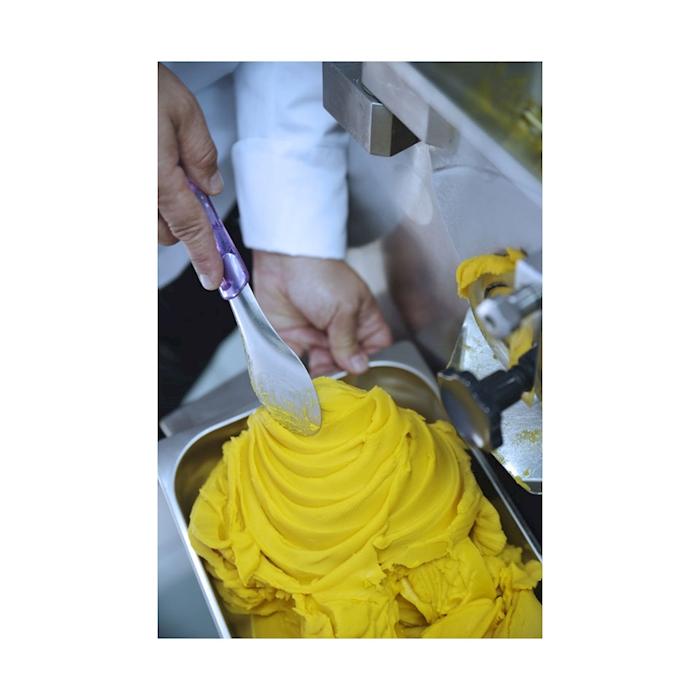 Spatola gelato in acciaio inox con manico in tritan giallo cm 26