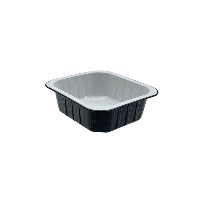 Vaschetta rettangolare monouso in alluminio nero e bianco cl 55