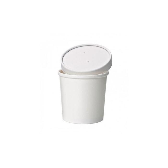 Contenitore soupe con coperchio in carta bianca cl 35