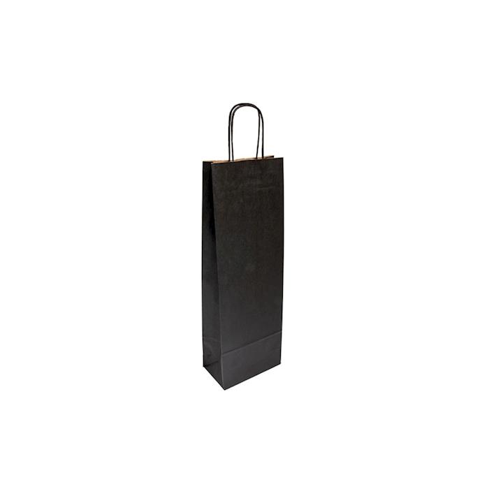 Borsa per bottiglie in carta nera cm 14x8x40