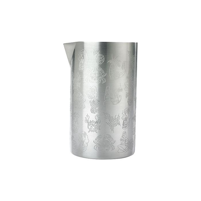 Mixing tin double wall in acciaio inox con decori cl 62,5