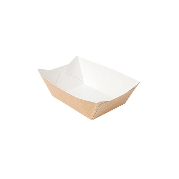 Barchetta in carta kraft e bianca cm 16x11,5x4