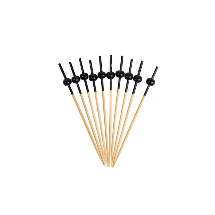 Stecchino con perla nera in bamboo cm 9