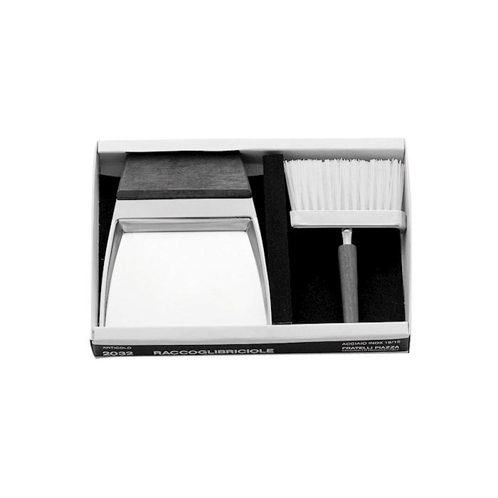 Raccoglibriciole con spazzolino in acciaio inox e legno cm 14,5x12