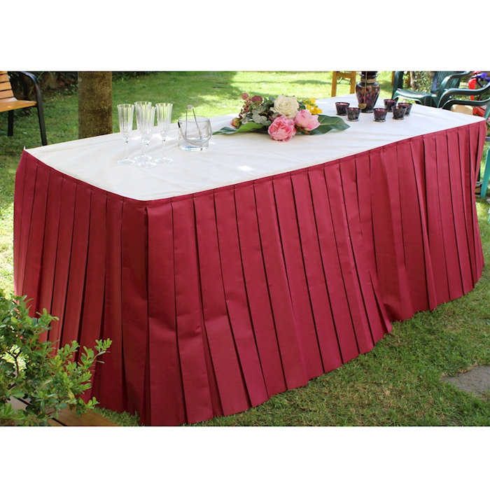 Gonne plissè per tavolo buffet TNT bordeaux 4 mt