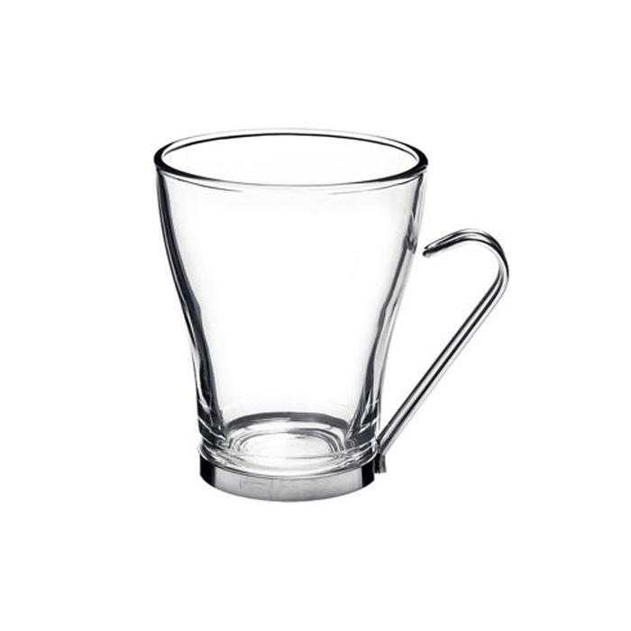 Tazza latte Oslo Bormioli Rocco con manico in acciaio inox in vetro cl 32,8