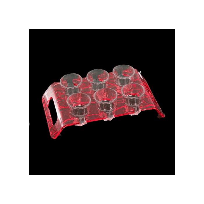 Vassoio portachupito Aladino plexiglass 24,7x14cm rosso