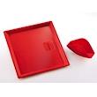 Vassoio con portatovaglioli in abs rosso cm 27x27