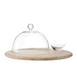 Vassoio tondo in quercia con cupola in vetro cm 40
