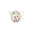 Teiera con tazza Tea for One Flowers in porcellana rosa e bianca