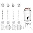 Set con dispenser Kilner lt 5, supporto, 4 boccali cl 40 con cannucce, 4 mini boccali cl 11