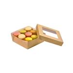 Scatola per alimenti monouso in cartone marrone con coperchio a finestra cm 13,5x13,5x5